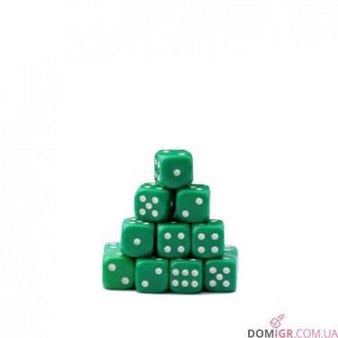 Кубик D6 16мм - Зеленый