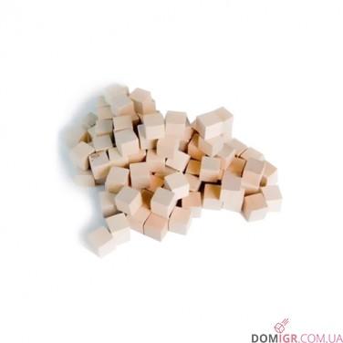 Кубик деревянный 8 мм - 10 шт, натуральное дерево