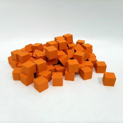 Кубик деревянный 10 мм - 10 шт, оранжевый