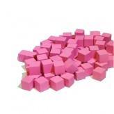 Кубик деревянный 10 мм - 10 шт, розовый