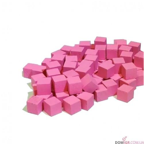 Кубик деревянный 8 мм - 10 шт, розовый