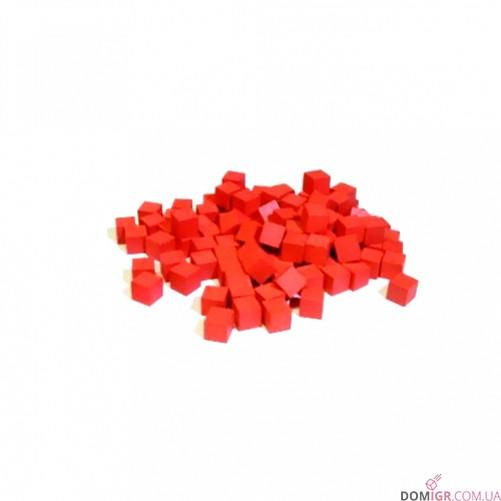 Кубик деревянный 8 мм - 10 шт, красный