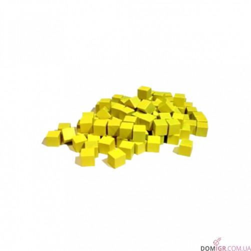 Кубик деревянный 8 мм - 10 шт, желтый