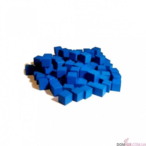Кубик деревянный 8 мм - 10 шт, синий