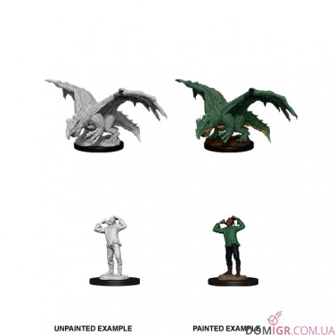 Green Dragon Wyrmling & Afflicted Elf - D&D Nolzur's Marvelous Miniatures - W11