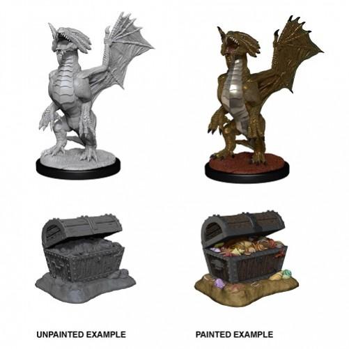 Bronze Dragon Wyrmling & Pile of Sea found Treasure - D&D Nolzur's Marvelous Miniatures - W13