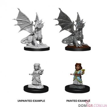 Silver Dragon Wyrmling & Female Halfling Fiend - D&D Nolzur's Marvelous Miniatures - W13
