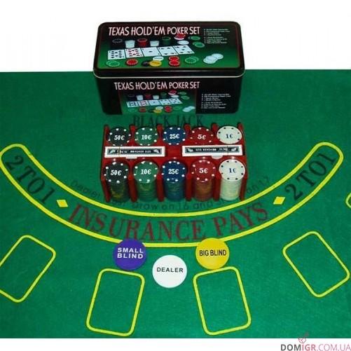 Покерный набор на 200 фишек - жестяная коробка